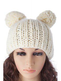 Balls Knitted  Solid Color Hat - Crystal Cream M