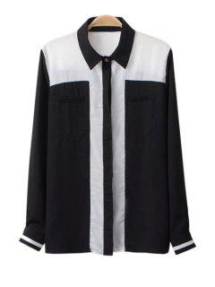 Color Block Shirt Collar Chiffon Shirt - Black S