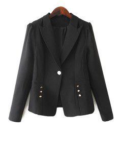 One Button Solid Color Blazer - Black Xl