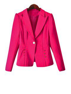 One Button Solid Color Blazer - Pink M
