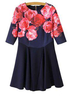 Rose Print Half Sleeve Dress - Red L