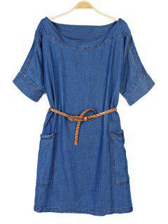 Solid Color Short Sleeve Denim Dress - Blue S
