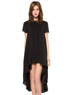 Solid Color Short Sleeve High-Low Dress - Black Xl