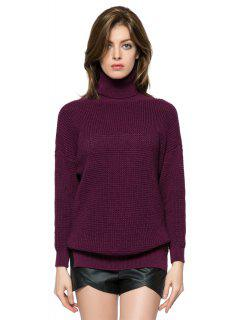 Solid Color Turtle Neck Sweater - Dark Red S