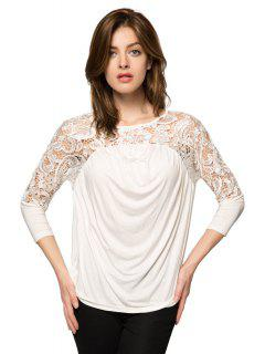 Dentelle Splicing Neuf Minutes Blouse Manches - Blanc M