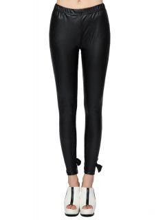 PU Leather Bowknot Leggings - Black 2xl