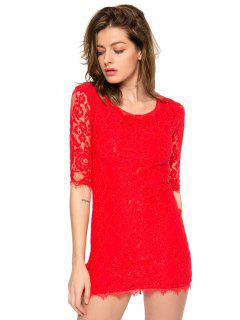 Solid Color 3/4 Sleeve Lace Dress - Red Xl