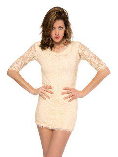 Solid Color 3/4 Sleeve Lace Dress - Beige S