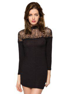 3/4 Sleeve Lace Splicing Dress - Black M