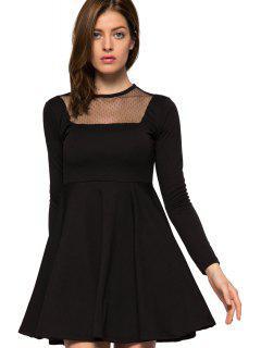 Voile Splicing Black A-Line Dress - Black Xl