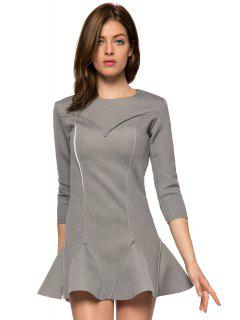 Solid Color 3/4 Sleeve Splicing Dress - Gray Xl