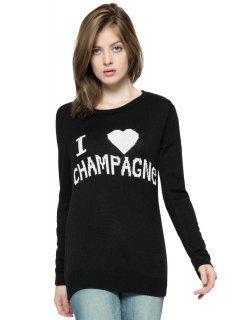 Letters Pattern Long Sleeve Sweater - Black L