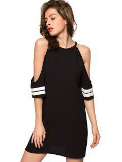 Off-The-Shoulder Half Sleeve Striped Dress - Black Xs