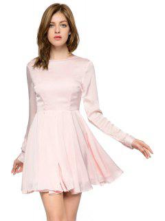 Solid Color Backless Long Sleeve Dress - Pink L