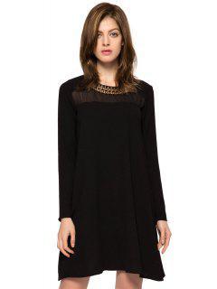 Long Sleeve Metal Embellished Dress - Black M