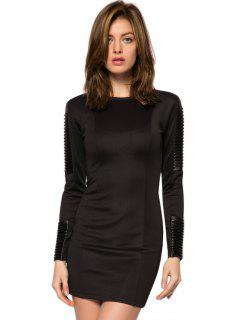 PU Leather Splicing Bodycon Dress - Black Xs