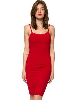 Spaghetti Straps Backless Bodycon Dress - Red S