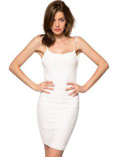 Spaghetti Straps Backless Bodycon Dress - White M