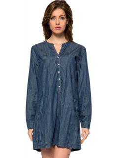 Bleu V-cou Robe En Jean - Bleu Foncé M