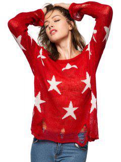 Star Pattern Broken Hole Knitwear - Red M
