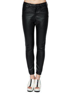 Fuax Leather Narrow Feet Pants - Black 40