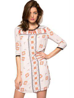 Print 3/4 Sleeve Lace-Up Dress - Off-white M