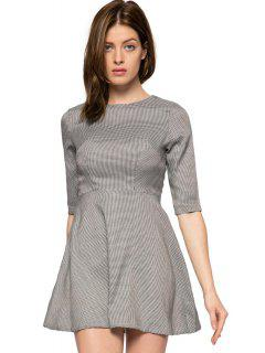 Houndstooth Half Sleeve A-Line Dress - Gray 2xl