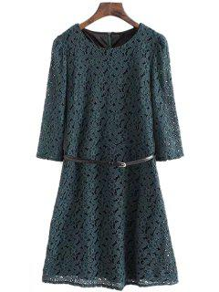 Half Sleeve Solid Color Lace Dress - Green L