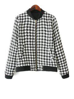 Houndstooth Long Sleeve Jacket - White And Black L