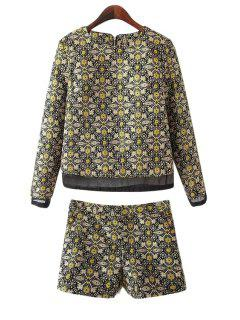 Geometric Pattern Blouse And Shorts Suit - Yellow L