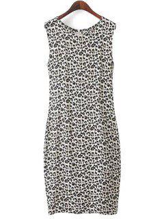 Leopard Print Sleeveless Dress - Leopard L