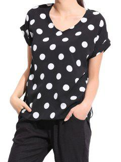 Polka Dot Short Sleeve Blouse - Black M