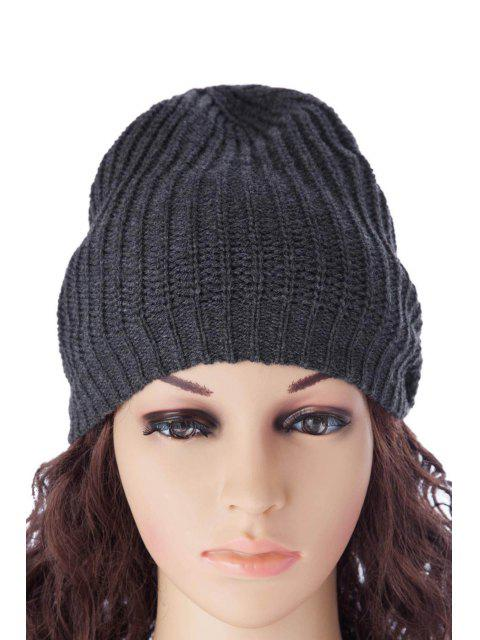 lady Pure Color Knitting Hat - DEEP GRAY M Mobile