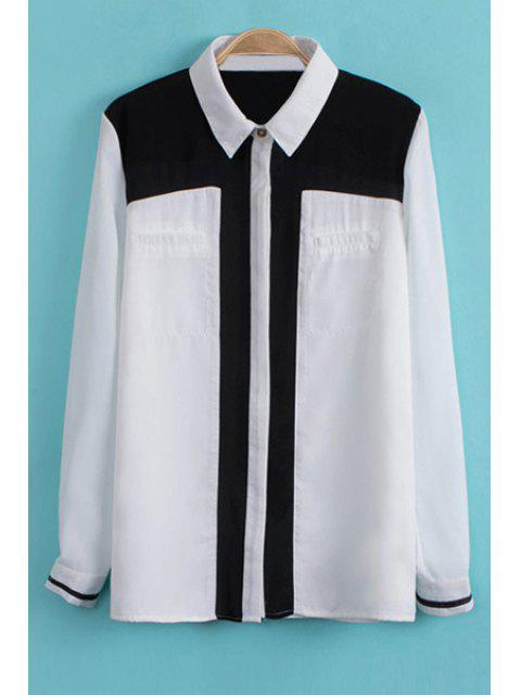 affordable Color Block Shirt Collar Chiffon Shirt - WHITE S Mobile