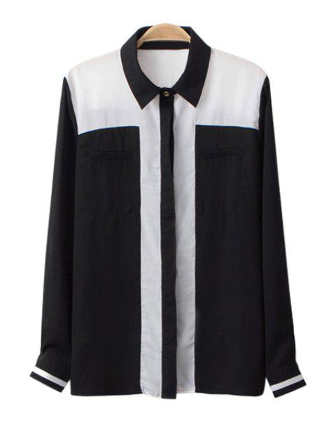 fancy Color Block Shirt Collar Chiffon Shirt - BLACK S Mobile