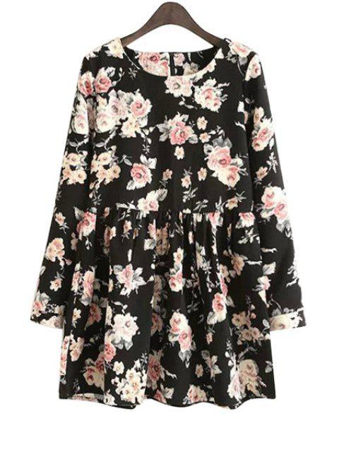 hot Long Sleeves Full Floral Print Dress - BLACK M Mobile