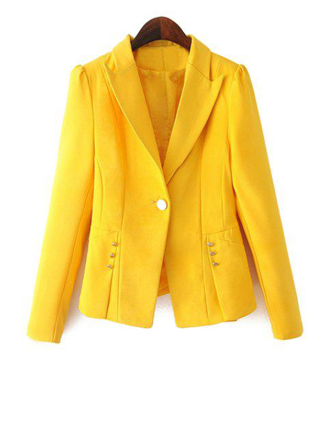 lady One Button Solid Color Blazer - YELLOW XL Mobile