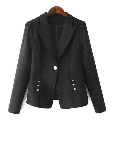 best One Button Solid Color Blazer - BLACK S Mobile