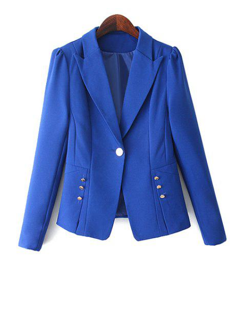 trendy One Button Solid Color Blazer - BLUE M Mobile