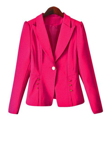 outfit One Button Solid Color Blazer - PINK S Mobile