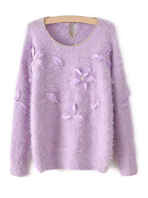 latest Leaf Embroidery Long Sleeve Sweater - PURPLE ONE SIZE(FIT SIZE XS TO M) Mobile