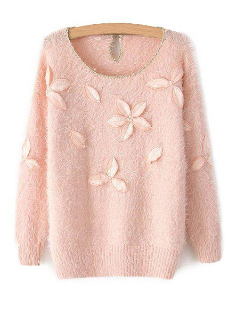 fashion Leaf Embroidery Long Sleeve Sweater - PINK ONE SIZE(FIT SIZE XS TO M) Mobile
