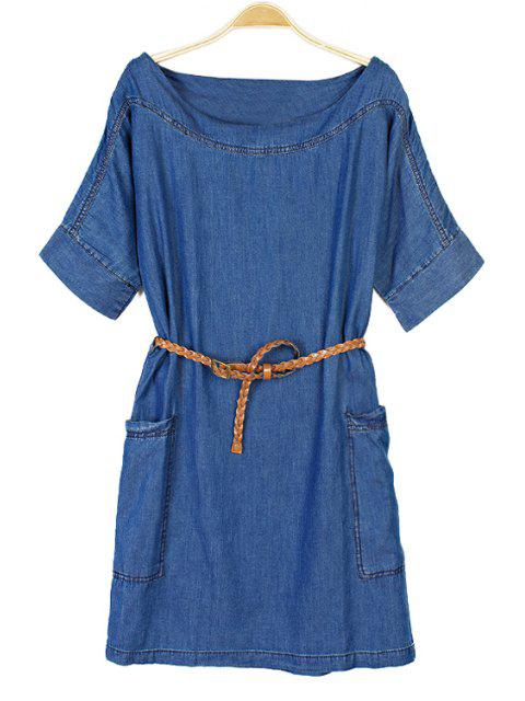 shop Solid Color Short Sleeve Denim Dress - BLUE XS Mobile