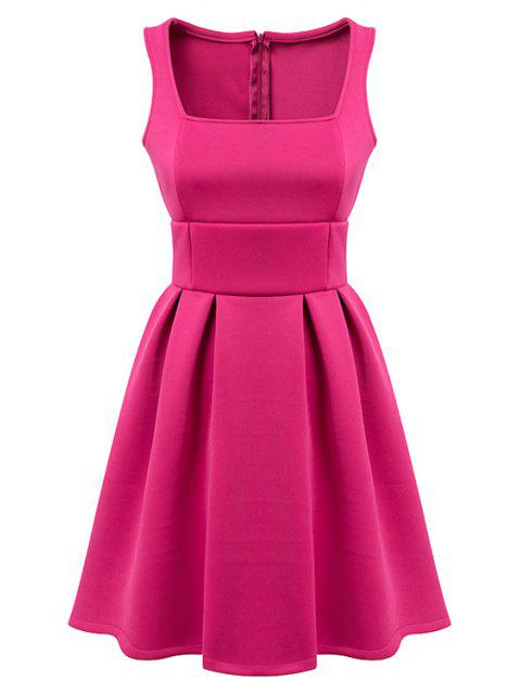 fancy Sleeveless Solid Color A-Line Dress - PLUM L Mobile