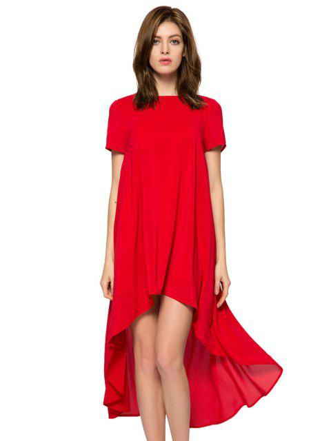chic Solid Color Short Sleeve High-Low Dress - RED S Mobile