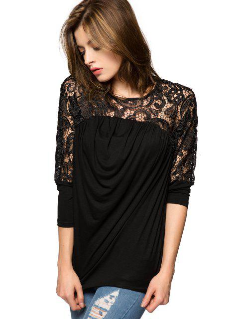 shop Lace Splicing Nine-Minute Sleeve Blouse - BLACK M Mobile