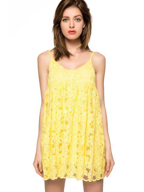 latest Floral Spaghetti Straps Dress - YELLOW 2XL Mobile