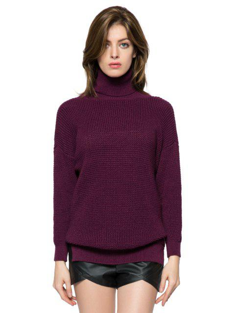 shops Solid Color Turtle Neck Sweater - DARK RED S Mobile