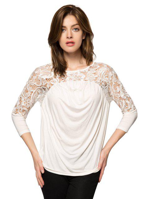 hot Lace Splicing Nine-Minute Sleeve Blouse - WHITE 2XL Mobile