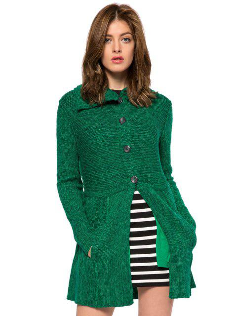 trendy Solid Color Turn-Down Collar Cardigan - GREEN S Mobile